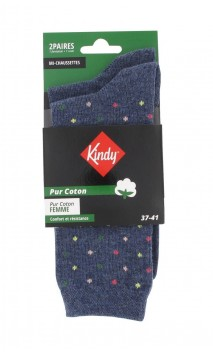 Chaussettes en pur coton fantaisies et unies vendues par lot de 2
