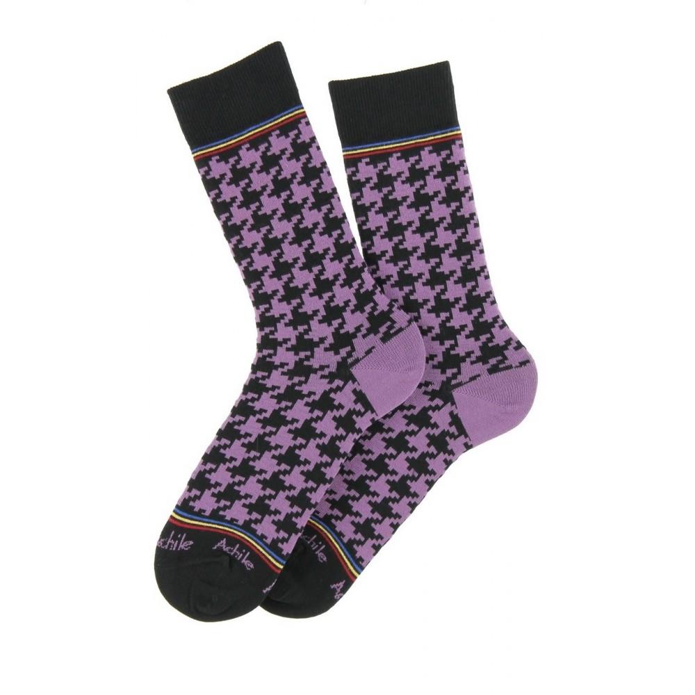 Chaussettes motif pied de poule en coton