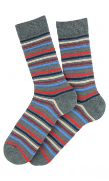 Mi-chaussettes rayures en coton