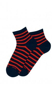 Chaussettes courtes rayures en coton