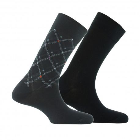 Lot de 2 paires de mi-chaussettes quadrillage MADE IN FRANCE