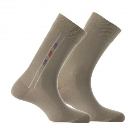 Lot de 2 paires de mi-chaussettes motif baguette MADE IN FRANCE