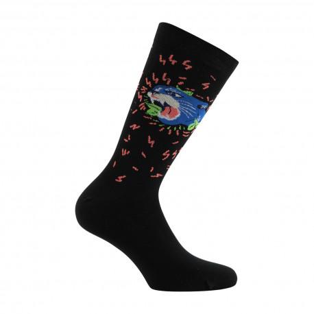 Mi-chaussettes mixtes Panthère en coton
