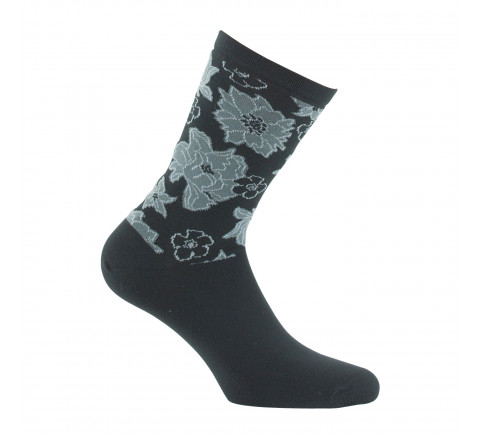Mi-chaussettes fleurs MADE IN FRANCE