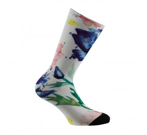 Mi-chaussettes imprimées aquarelle de fleurs