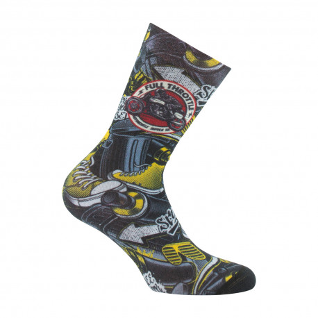Mi-chaussettes imprimées Moto