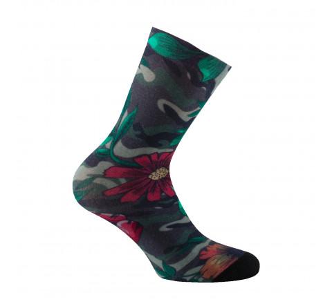 Mi-chaussettes imprimées camouflage fleuri