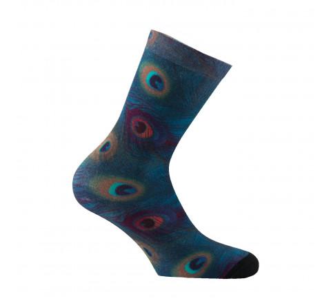 Mi-chaussettes imprimées plumes de Paon
