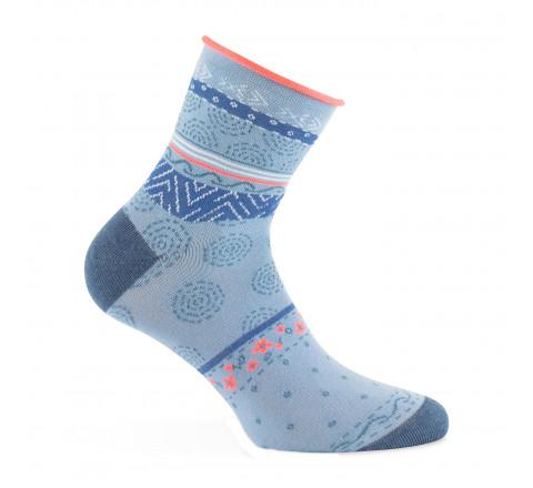 Socquettes motifs foulard et bord côte roulotté