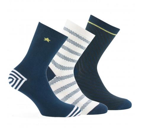 Lot de 3 paires de mi-chaussettes Marin