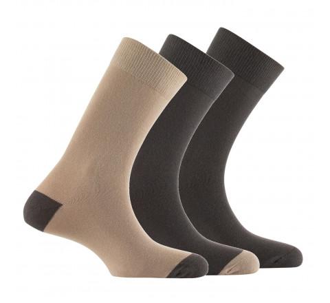Lot de 3 paires de mi-chaussettes talon/pointe contrasté