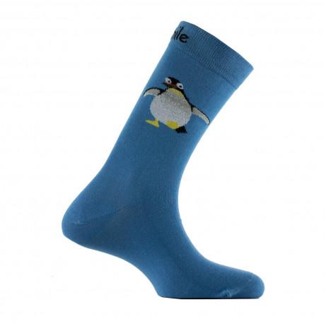Mi-chaussettes motifs manchot en coton