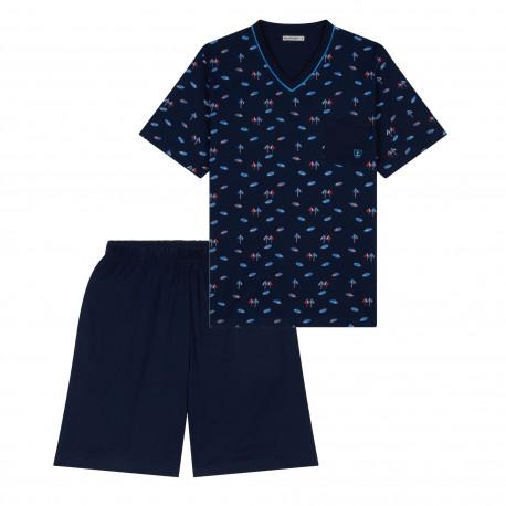 Pyjama court col V motifs plage MARINER
