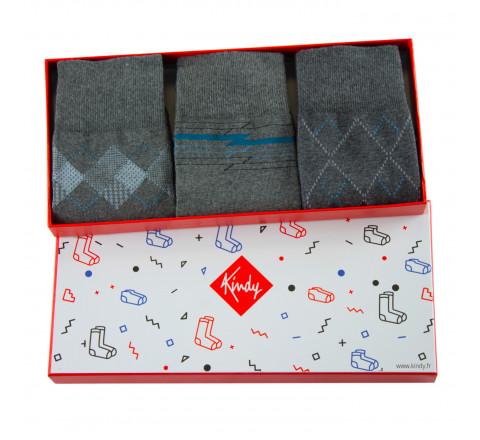 Coffret 3 paires de chaussettes grises MADE IN FRANCE