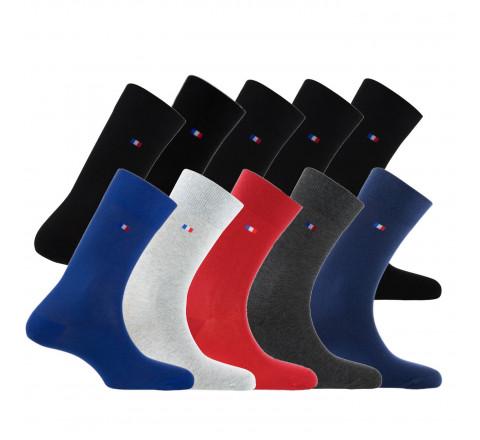 Lot de 10 paires de chaussettes drapeau MADE IN FRANCE