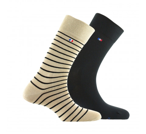 Lot de 2 paires de Mi-chaussettes unies et à rayures MADE IN FRANCE