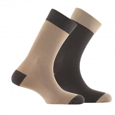 Lot de 2 paires de mi-chaussettes contrastées