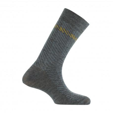 Mi-chaussettes quadrillages chaudes en Laine