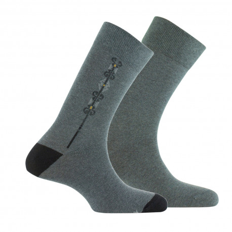 Lot de 2 paires de mi-chaussettes fantaisie et unie