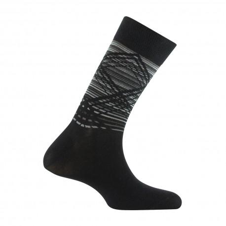 Mi-chaussettes quadrillages sur rayures