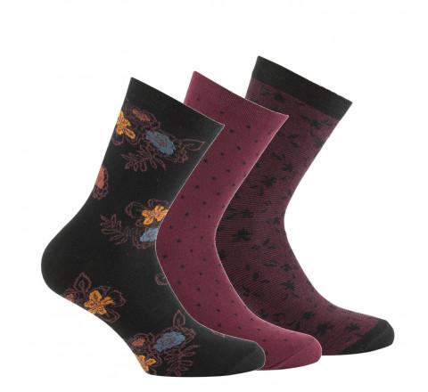 Lot de 3 paires de mi-chaussettes fleurs et plumetis