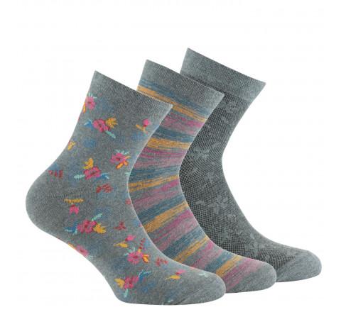 Lot de 3 paires de socquettes fleurs et rayures