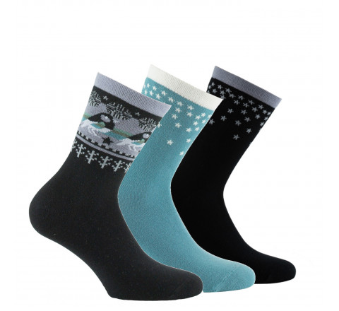 Lot de 3 paires de mi-chaussettes motifs d'hiver