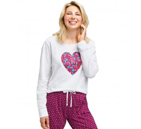 Pyjama long motif coeur fleuri pour femme