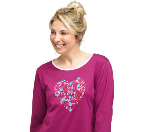 Pyjama Liquette motif coeur fleuri pour femme