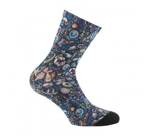 Mi-chaussettes imprimées Marin