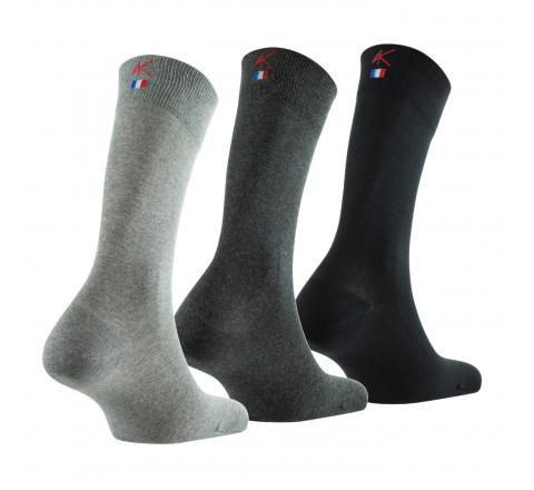 Lot de 3 paires de mi-chaussettes unies Premium MADE IN FRANCE