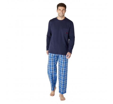 Pyjama long à carreaux pour homme