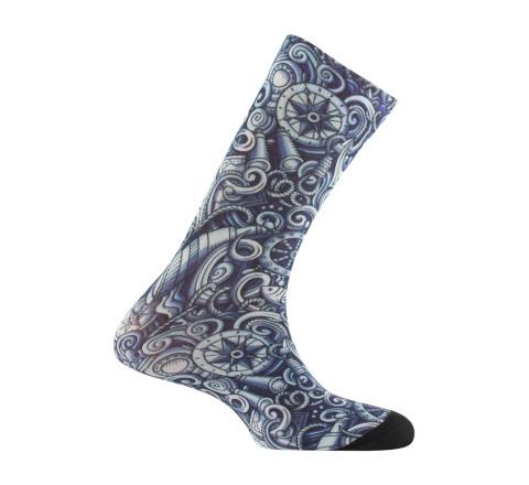 Mi-chaussettes imprimées motifs Marin en viscose
