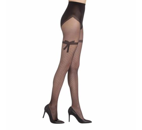 Collant noir DIM Sexy nœud dentelle 20D
