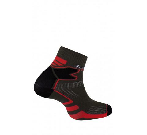 Socquettes Double Trail gris/rouge