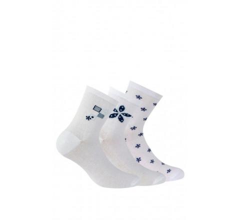 Lot de 3 paires de socquettes motis fleurs en coton