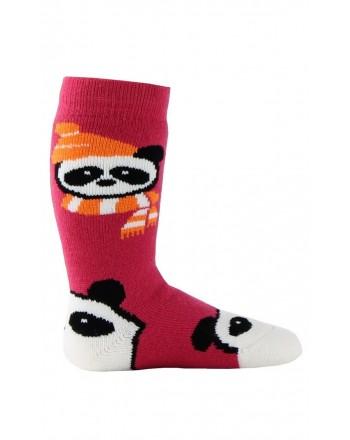 Chaussettes de ski bébé en bouclette acrylique et laine motif Panda