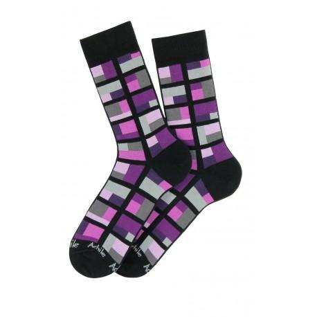 Mi-chaussettes motif Cubes coton