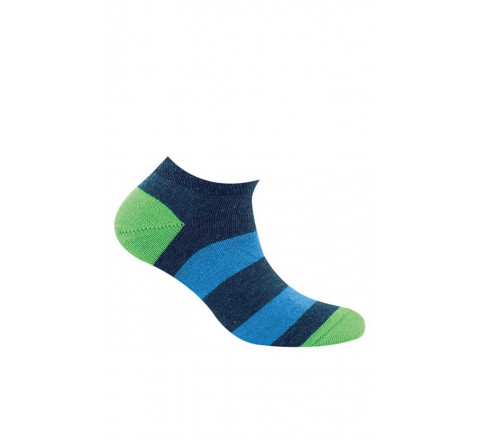 Chaussettes invisibles rayées en pur coton