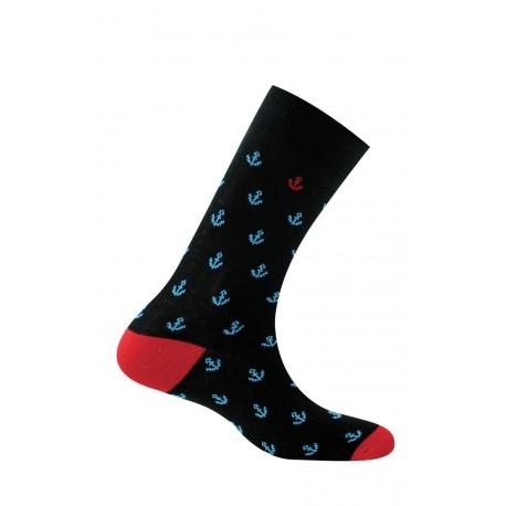 Mi-chaussettes homme ancres pur coton