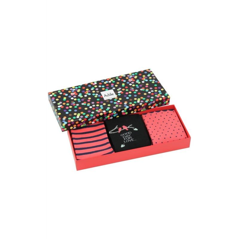 achile femme coffret cadeau 3 paires de chaussettes girly achile. Black Bedroom Furniture Sets. Home Design Ideas