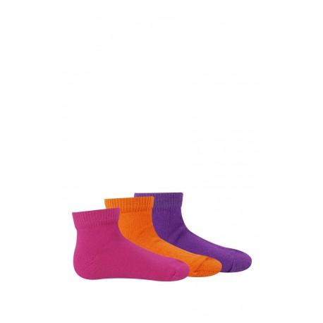Chaussettes courtes unies de couleur vendues par 3 paires