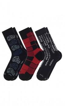 Pack de 3 paires de chaussettes fantaisies  noir/rouge Achile