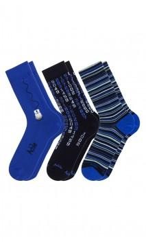 Pack de 3 paires de chaussettes fantaisies bleu/noir Achile