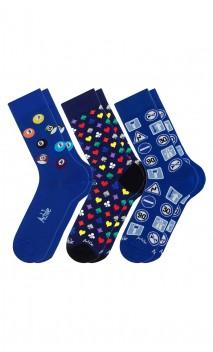 Pack de 3 paires de chaussettes fantaisies bleues Achile