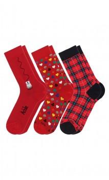 Pack de 3 paires de chaussettes fantaisies rouges Achile
