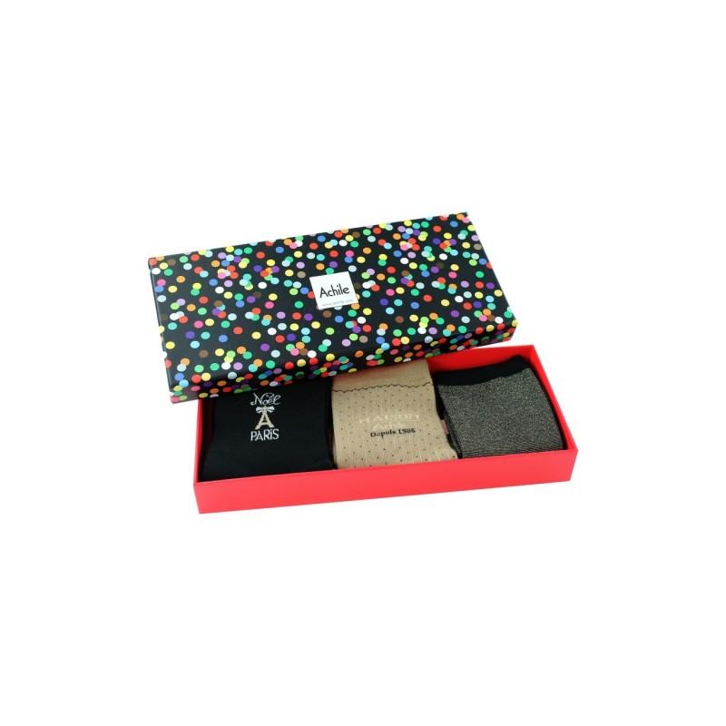 achile femme coffret cadeau femme 3 paires de chaussettes maison achile. Black Bedroom Furniture Sets. Home Design Ideas