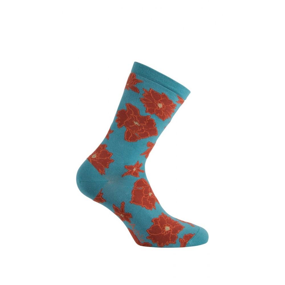 Mi-chaussettes modèle Flowers en coton