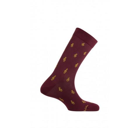 Mi-chaussettes motif Clés de sol en coton