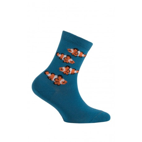 Mi-chaussettes motif poissons Clowns en coton